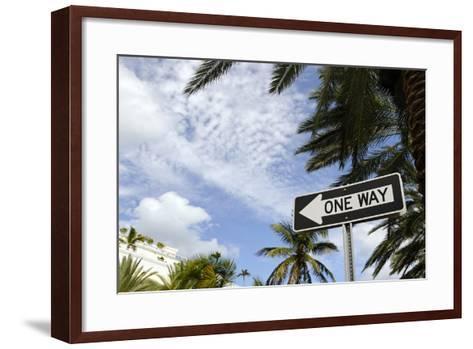 One-Way Street Sign, Collins Street, South Miami Beach, Art Deco District, Florida, Usa-Axel Schmies-Framed Art Print
