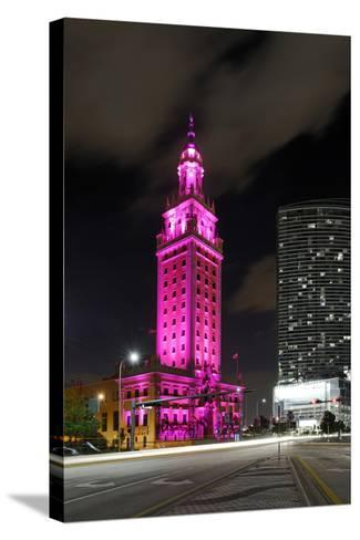 Mdc Freedom Tower at Night, Illumination in Pink, Biscayne Boulevard, Miami Downtown, Miami-Axel Schmies-Stretched Canvas Print