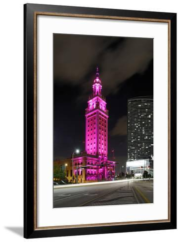 Mdc Freedom Tower at Night, Illumination in Pink, Biscayne Boulevard, Miami Downtown, Miami-Axel Schmies-Framed Art Print