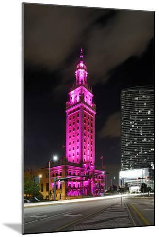Mdc Freedom Tower at Night, Illumination in Pink, Biscayne Boulevard, Miami Downtown, Miami-Axel Schmies-Mounted Photographic Print
