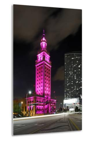 Mdc Freedom Tower at Night, Illumination in Pink, Biscayne Boulevard, Miami Downtown, Miami-Axel Schmies-Metal Print