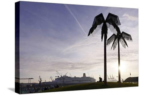 Steel Palms in Front of Harbour Cranes, Silhouettes, Backlight, Park Fiction, St Pauli-Axel Schmies-Stretched Canvas Print