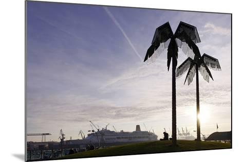 Steel Palms in Front of Harbour Cranes, Silhouettes, Backlight, Park Fiction, St Pauli-Axel Schmies-Mounted Photographic Print