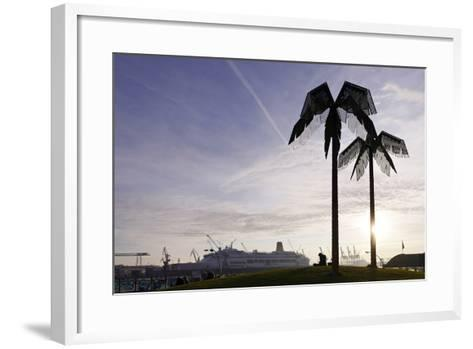 Steel Palms in Front of Harbour Cranes, Silhouettes, Backlight, Park Fiction, St Pauli-Axel Schmies-Framed Art Print