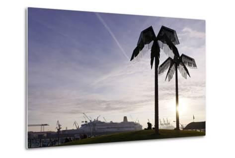 Steel Palms in Front of Harbour Cranes, Silhouettes, Backlight, Park Fiction, St Pauli-Axel Schmies-Metal Print