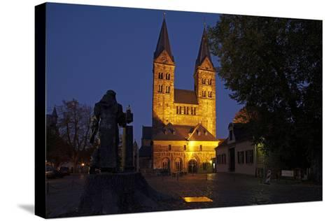 Germany, Hessen, Northern Hessen, Fritzlar, Cathedral, Bonifatius Monument, at Night-Chris Seba-Stretched Canvas Print