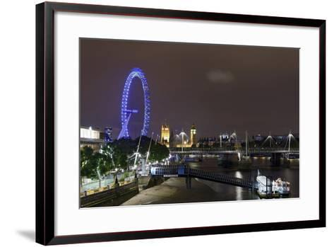 The Thames with London Eye and the Houses of Parliament, at Night, London, England, Uk-Axel Schmies-Framed Art Print