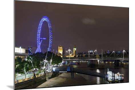 The Thames with London Eye and the Houses of Parliament, at Night, London, England, Uk-Axel Schmies-Mounted Photographic Print