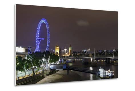 The Thames with London Eye and the Houses of Parliament, at Night, London, England, Uk-Axel Schmies-Metal Print