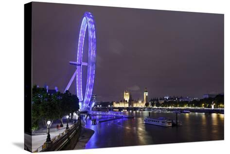 The Thames with London Eye and the Houses of Parliament, at Night, London, England, Uk-Axel Schmies-Stretched Canvas Print