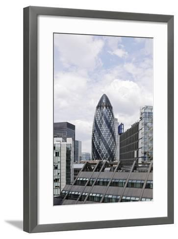 Swiss Re Tower by Architect Sir Norman Foster, 30 St Mary Axe, City of London, England, Uk-Axel Schmies-Framed Art Print