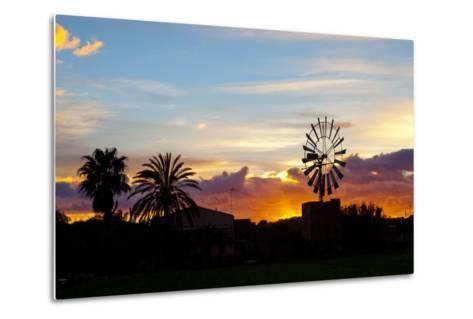 Europe, Spain, Majorca, Palm, Windmill, Dusk, Afterglow-Chris Seba-Metal Print