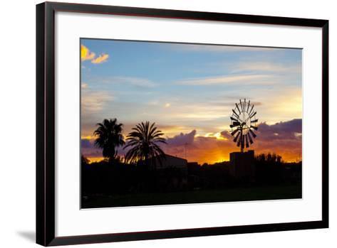 Europe, Spain, Majorca, Palm, Windmill, Dusk, Afterglow-Chris Seba-Framed Art Print