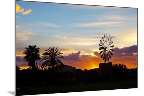 Europe, Spain, Majorca, Palm, Windmill, Dusk, Afterglow-Chris Seba-Mounted Photographic Print