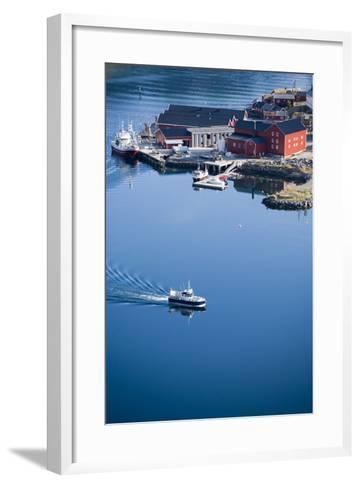 Scandinavia, Norway, Lofoten, Moskenesoey, Pure, Fisher-Place, Harbor, Boats-Rainer Mirau-Framed Art Print