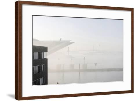 Ground Fog Above the Elbe, Bizarre, Unusual, Elbberg Campus, Altona-Axel Schmies-Framed Art Print