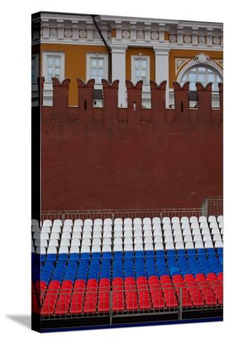 Moscow, Red Square, Stand in National Colours for the Victory Celebration on the 9th of May-Catharina Lux-Stretched Canvas Print