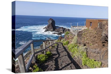 Rock in the Sea Near Santo Domingo, 'Roque De Santo Domingo', La Palma, Canary Islands, Spain-Gerhard Wild-Stretched Canvas Print
