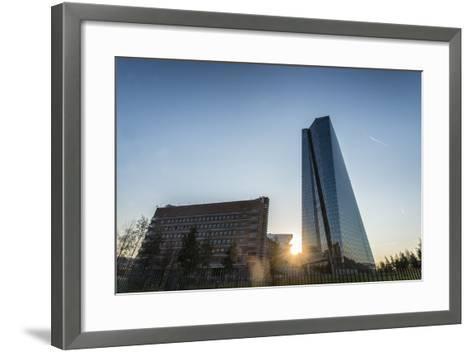 Frankfurt Am Main, Hesse, Germany, New Building of the European Central Bank with Sunrise-Bernd Wittelsbach-Framed Art Print