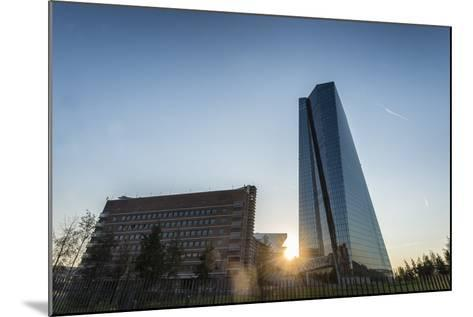Frankfurt Am Main, Hesse, Germany, New Building of the European Central Bank with Sunrise-Bernd Wittelsbach-Mounted Photographic Print