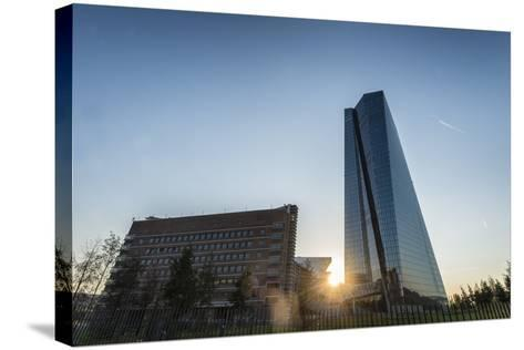 Frankfurt Am Main, Hesse, Germany, New Building of the European Central Bank with Sunrise-Bernd Wittelsbach-Stretched Canvas Print