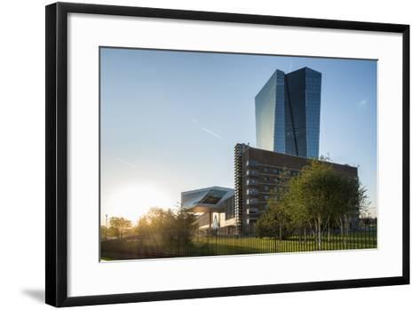 Frankfurt Am Main, Hesse, Germany, New Building of the European Central Bank with Sunrise-Bernd Wittelsbach-Framed Art Print