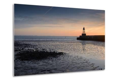 Sunrise, Breakwater Light, Nordmole, Wilhelmshaven, Lower Saxony, Germany-Axel Ellerhorst-Metal Print