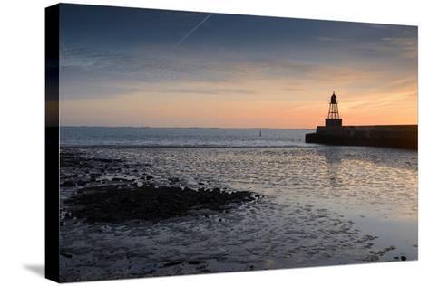 Sunrise, Breakwater Light, Nordmole, Wilhelmshaven, Lower Saxony, Germany-Axel Ellerhorst-Stretched Canvas Print