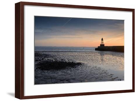 Sunrise, Breakwater Light, Nordmole, Wilhelmshaven, Lower Saxony, Germany-Axel Ellerhorst-Framed Art Print
