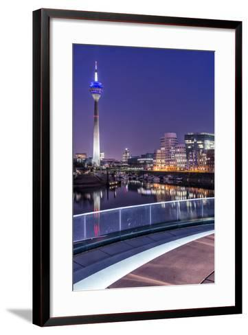DŸsseldorf, North Rhine-Westphalia, Media Harbour with Television Tower and Gehry Houses at Dusk-Bernd Wittelsbach-Framed Art Print