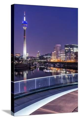 DŸsseldorf, North Rhine-Westphalia, Media Harbour with Television Tower and Gehry Houses at Dusk-Bernd Wittelsbach-Stretched Canvas Print