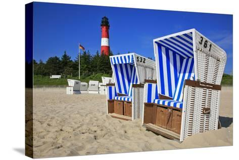 Sylt, Beach Chairs with Lighthouse on the East Beach of Hšrnum-Uwe Steffens-Stretched Canvas Print
