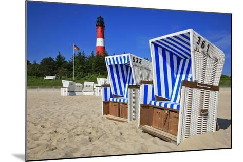 Sylt, Beach Chairs with Lighthouse on the East Beach of Hšrnum-Uwe Steffens-Mounted Photographic Print