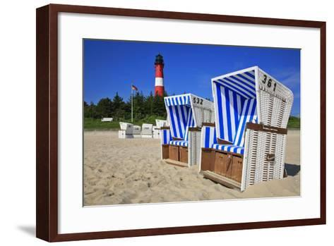 Sylt, Beach Chairs with Lighthouse on the East Beach of Hšrnum-Uwe Steffens-Framed Art Print