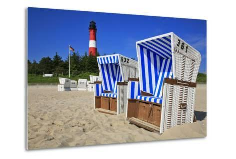 Sylt, Beach Chairs with Lighthouse on the East Beach of Hšrnum-Uwe Steffens-Metal Print