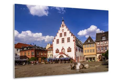 Germany, Bavaria, Lower Franconia, Main-Franconia, Karlstadt, 'Marktplatz' (Square), City Hall-Udo Siebig-Metal Print