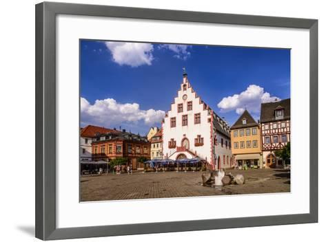Germany, Bavaria, Lower Franconia, Main-Franconia, Karlstadt, 'Marktplatz' (Square), City Hall-Udo Siebig-Framed Art Print