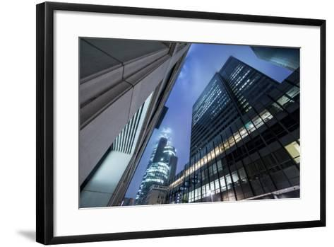 Germany, Hesse, Street Canyon of the Neue Mainzer Stra§e with Main Tower. Dusk-Bernd Wittelsbach-Framed Art Print