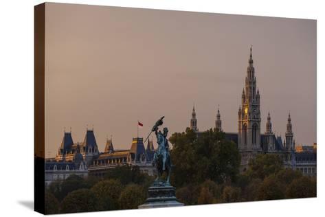 Europe, Austria, Vienna, City Hall, Equestrian Statue Archduke Charles-Gerhard Wild-Stretched Canvas Print