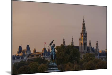 Europe, Austria, Vienna, City Hall, Equestrian Statue Archduke Charles-Gerhard Wild-Mounted Photographic Print