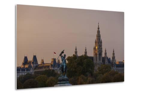Europe, Austria, Vienna, City Hall, Equestrian Statue Archduke Charles-Gerhard Wild-Metal Print