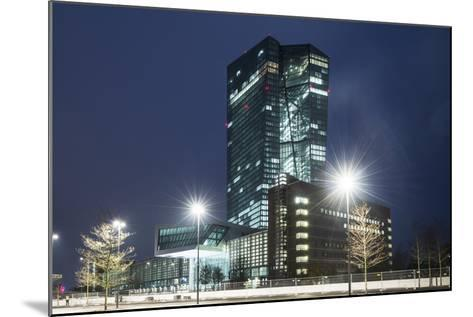 Germany, Hesse, Frankfurt Am Main, European Central Bank at Dusk-Bernd Wittelsbach-Mounted Photographic Print