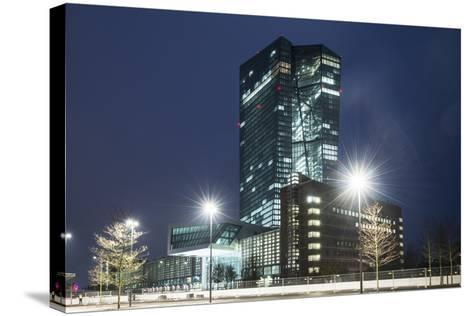 Germany, Hesse, Frankfurt Am Main, European Central Bank at Dusk-Bernd Wittelsbach-Stretched Canvas Print