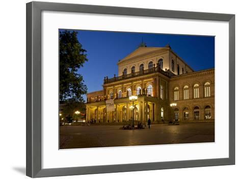 Germany, Lower Saxony, Hannover, Landestheater, Evening-Chris Seba-Framed Art Print