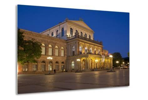 Germany, Lower Saxony, Hannover, Landestheater, Evening-Chris Seba-Metal Print