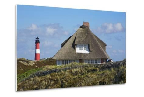 Thatched Roof House in the 'Kersig-Siedlung' of Hšrnum in Front of the Lighthouse-Uwe Steffens-Metal Print