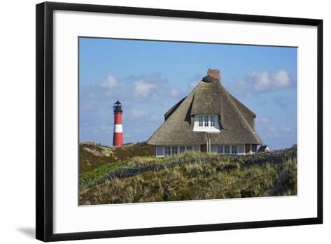 Thatched Roof House in the 'Kersig-Siedlung' of Hšrnum in Front of the Lighthouse-Uwe Steffens-Framed Art Print