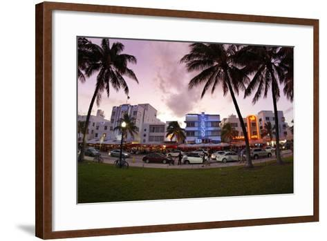 Panorama of the Art Deco Hotels, Ocean Drive at Dusk, Miami South Beach, Art Deco District, Florida-Axel Schmies-Framed Art Print