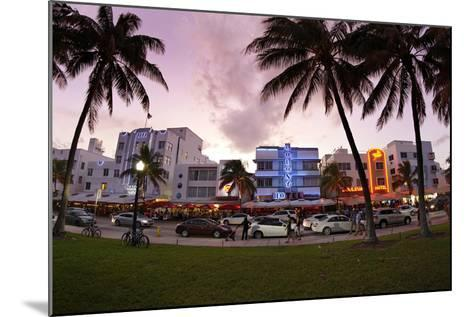 Panorama of the Art Deco Hotels, Ocean Drive at Dusk, Miami South Beach, Art Deco District, Florida-Axel Schmies-Mounted Photographic Print