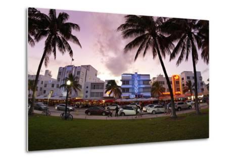 Panorama of the Art Deco Hotels, Ocean Drive at Dusk, Miami South Beach, Art Deco District, Florida-Axel Schmies-Metal Print